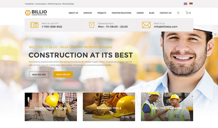 BILLIO wordpress theme CMGbaltic